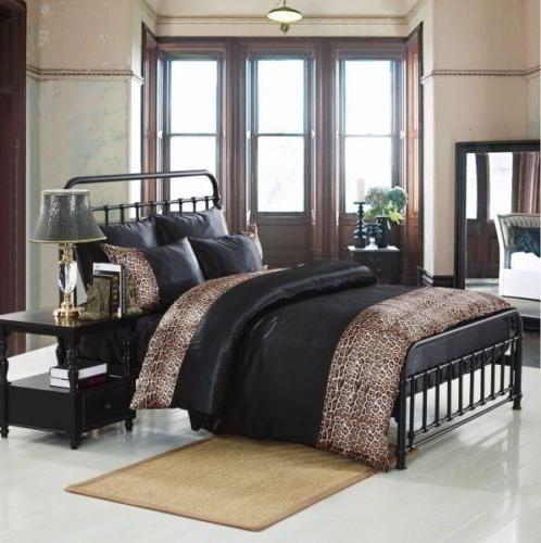 Tiger Zebra Satin 6 Pcs Silky Sexy Bedding Set Queen Duvet C
