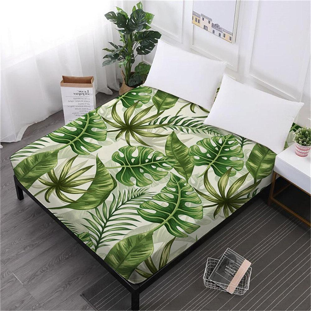 tropical green leaves bed font b sheet