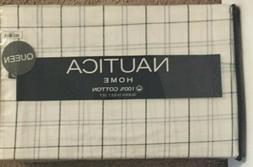 Nautica Large Friend Plaid Black & Gray on White Queen Sheet