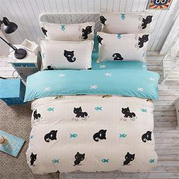 Lovely Little Black Cat Duvet Cover Pillowcase Flat Sheet 4p