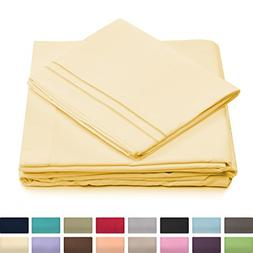 Queen Size Bed Sheets - Pastel Yellow Luxury Sheet Set - Dee