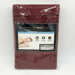 luxury pillowcase set full queen burgundy new