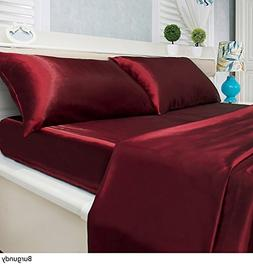 Luxury Solid Color 4-Piece Satin Bed Sheets Set - Silky Smoo