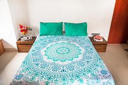Majestic Mint Mandala Tapestry Bedding with Pillow Covers, B