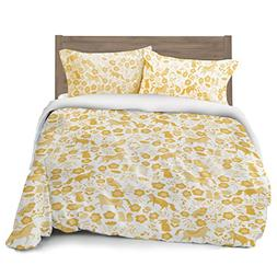 Marigold Yellow Folktale Forest Animals Duvet Cover Full/Que