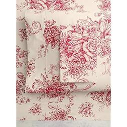 "Melange Home 189816 Sheet Set, Queen, Red Toile "" Kitchen"