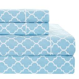 Meridian Blue and White Brushed Percale Cotton Sheets, 4pc Q