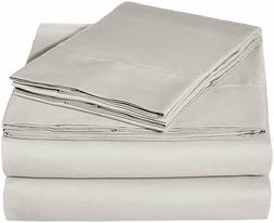 AmazonBasics Microfiber Bed Sheet Set, Queen, Light Grey
