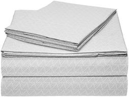 AmazonBasics Microfiber Sheet Set - Queen, Grey Crosshatch