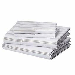 AmazonBasics Microfiber Sheet Set - Queen, Taupe Stripe
