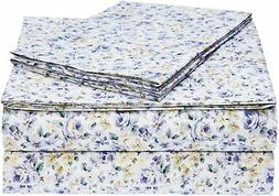 AmazonBasics Microfiber Sheet Set - Queen, Blue Floral