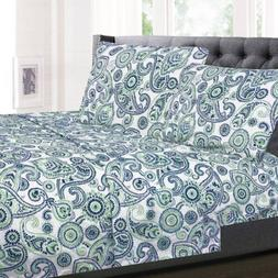 Modern Paisley Printed Blue/Green 4-Piece 1500 Supreme Colle