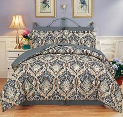 Moscow Gray 8 Piece Soft Egyptian Coton Touch Reversible Com