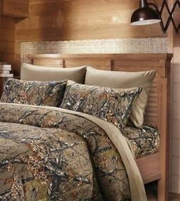 NATURAL BROWN CAMO 6pc Queen SHEETS SET : CAMOUFLAGE WOODS C