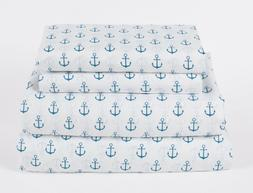 Nautical Anchor Twin Full Queen or King Sheet Set Microfiber