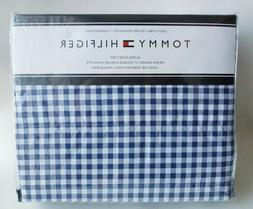 New TOMMY HILFIGER 4pc QUEEN Sheet Set Gingham Check Navy Bl