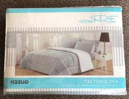NEW BELLA RUSSO 6 PC WRINKLE FREE SUPER SOFT QUEEN SIZE GRAY