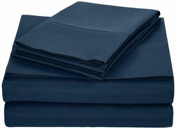 New AmazonBasics Microfiber Sheet Set - queen  Navy Blue