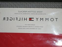 NEW NIP TOMMY HILFIGER RED COTTON PERCALE QUEEN SHEET SET