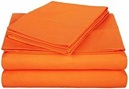 LaxLinen Orange Solid 4 PCs Bed Sheet Set Queen Size 450-Thr