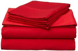 Percale Sheets, Red Solid 4-Piece Queen Bed Sheet Set Real E