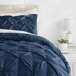 AmazonBasics Pinch Pleat Comforter Set - Twin, Navy Blue