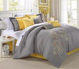 Pink floral Yellow Comforter Bed In A Bag Set 12 piece - Que