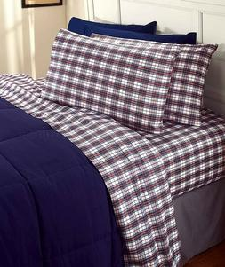 Plaid Queen Size Cotton Flannel Sheet Set Winter Bedroom Hom