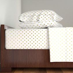 Roostery Polka Dots 4pc Sheet Set Gold Dust Gradient Dots by