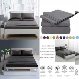 TEKAMON Premium 4 Piece Bed Sheet Set 1800 Bedding 100% Quee
