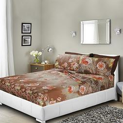 Printed Bed Sheet Set, Queen - Romantic Beige Floral - By Cl