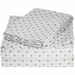 "My World Printed Dot Sheet Set Queen Grey Home "" Kitchen"