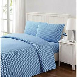 "Printed Gingham 4 Piece Sheet Set Queen Blue Home "" Kitchen"