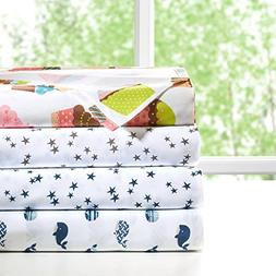Printed Queen Sheets, Casual Microfiber Bed Sheets, Grey Coo