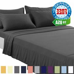 TEKAMON Queen Bed 6 Piece Sheet Set Cooling 100% Microfiber