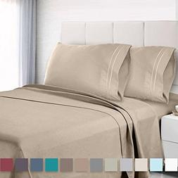 4Pcs Queen Bed Sheet Set with Corner Straps on Extra Deep Po