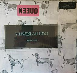 Cynthia Rowley Queen Cotton Sheet Set Penciled Standing Dogs