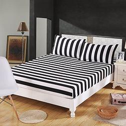HomeABC 3-pieces Queen Size Fitted Sheet Sets White and Blac