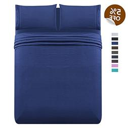 LuxeManor 4pc Queen Size Bed Sheet Set - Soft Brushed Micr