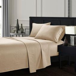 Soft Egyptian Comfort Count Striped Deep Pocket 4 Piece Bed