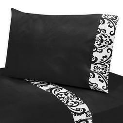 Sweet Jojo Designs 4-Piece Queen Sheet Set for Black and Whi