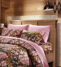 6 Piece Queen Sheet Set Reversible Pink Woodland Camo / Soli