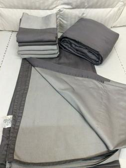 Queen Sheets Reversible 700TC Sheet Set w/ Extra Cases Gray