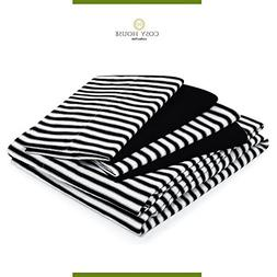 Queen Size Bed Sheets - Black Striped Luxury Sheet Set - Sta