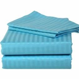 QUEEN SIZE TURQUOISE STRIPE BED SHEET SET 800 THREAD COUNT 1