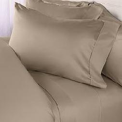 SEVEN  Piece QUEEN Size Set, TAUPE Solid / Plain, 1200 Threa