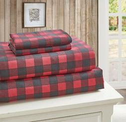 RED BUFFALO PLAID 4pc Queen SHEETS SET: CABIN BLACK CHECK CO