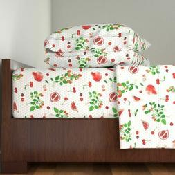 Red Fruit Polka Dot Garden Home Kitchen 100% Cotton Sateen S