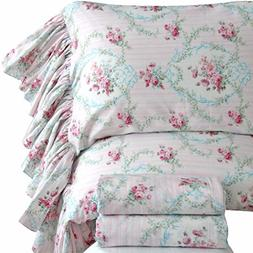 Queen's House Pink Roses Print Bed Sheet Set for Girls 4-Pie
