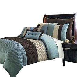 Sheetsnthings 12 PC Queen Size Blue Hudson Bed in a Bag incl